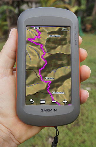 Garmin Montana showing route 13 Luangprabang road Laos
