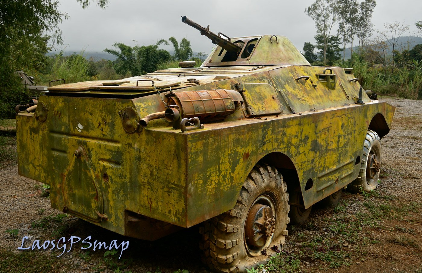 Armored car troop carrier hiding in the Jungle Xam Neua