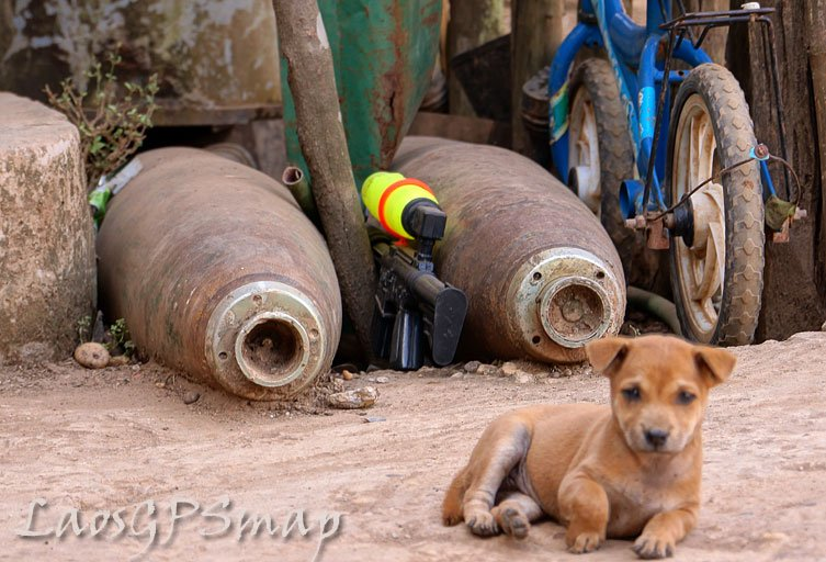 Childrens Toys, Bicycle, Puppy and Bombs, on the Ho Chi Minh trail