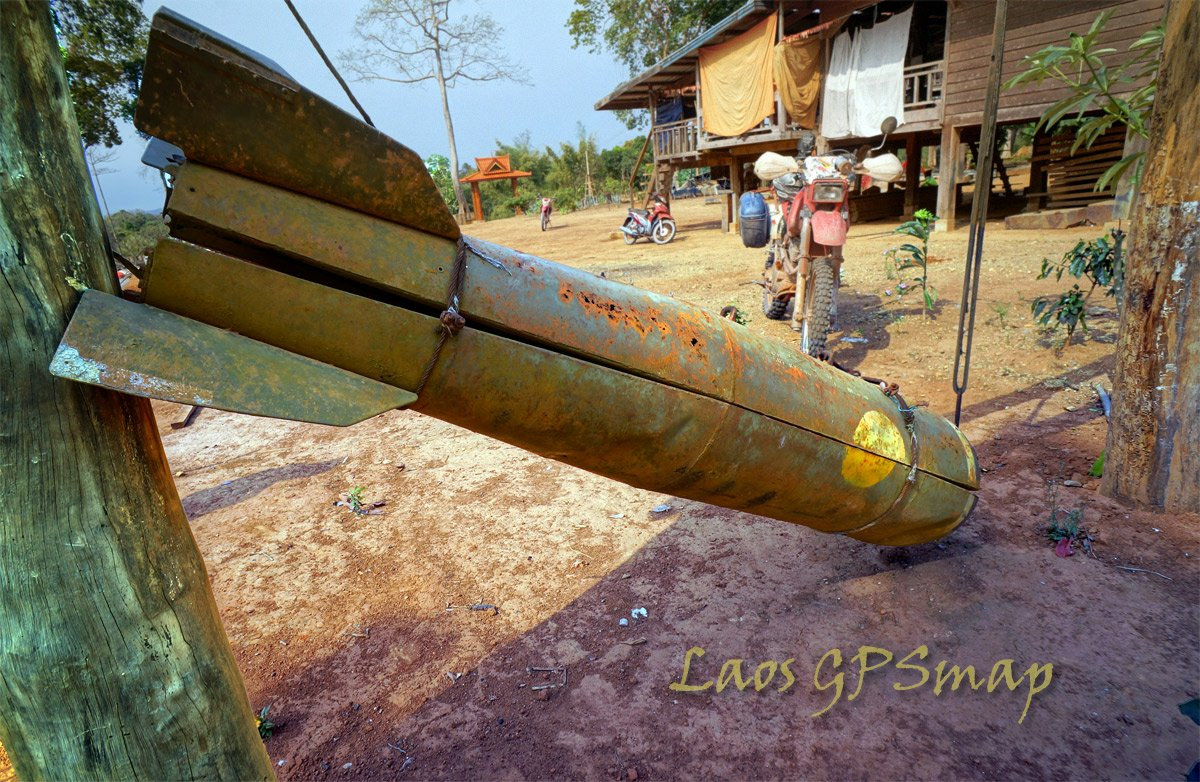 Bombie casing from the Ho Chi Minh trail at a Wat Vilabouly Laos
