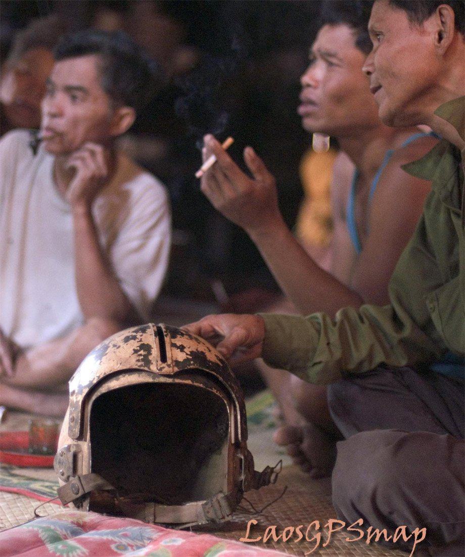 Muang Nong Village  USA Fighters helmet is found.Ho Chi Minh trail