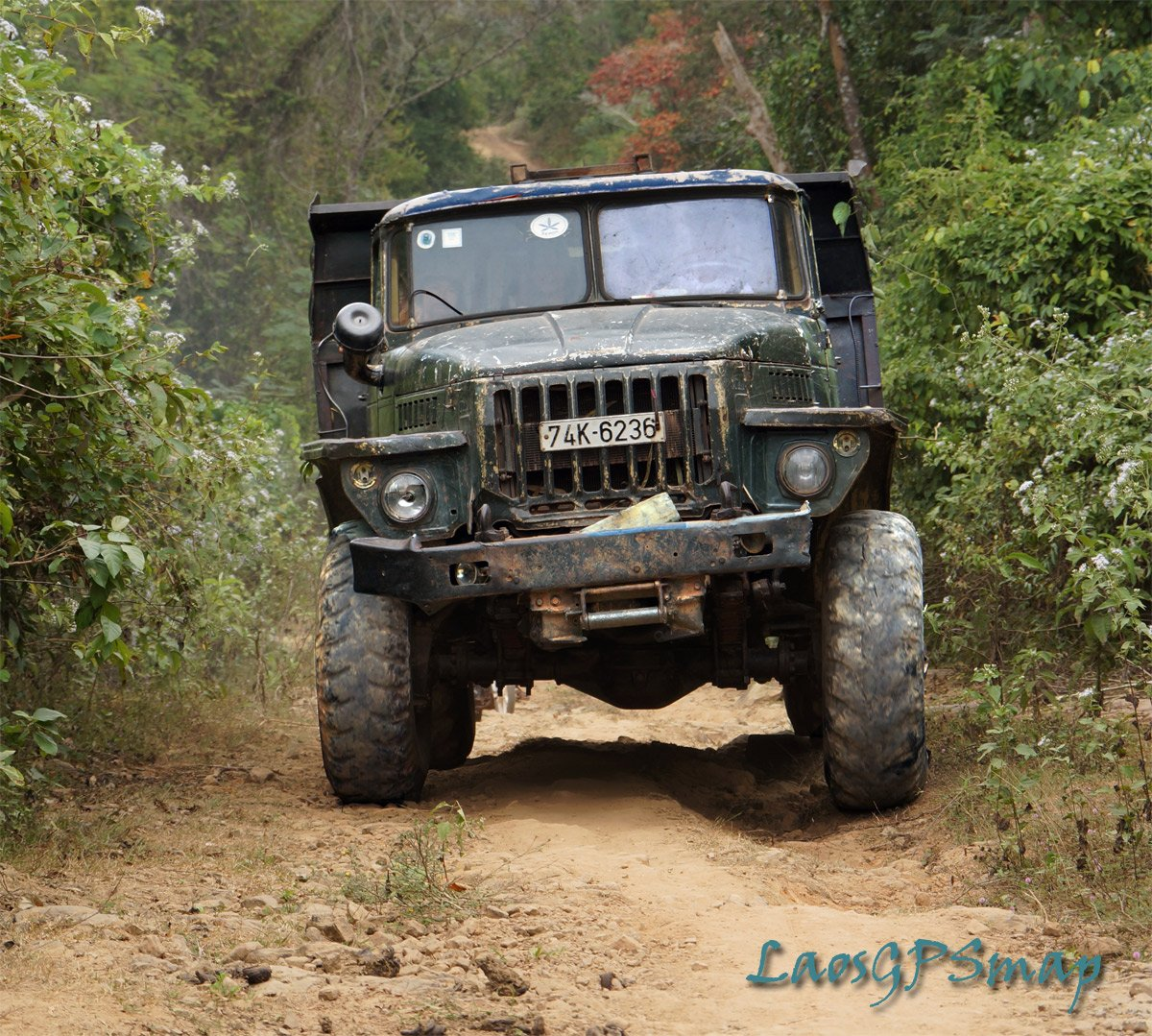 Vietnamese Kamaz truck rumbling down Ho Chi Minh trail route 96