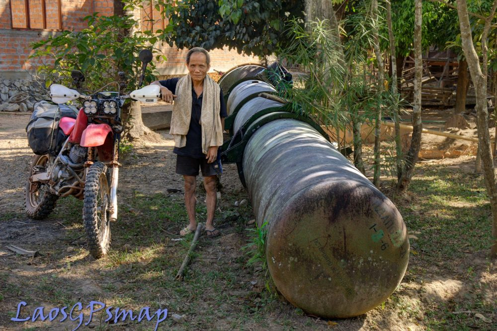Sam Missile container abandoned in a village on the Ho Chi Minh Trail
