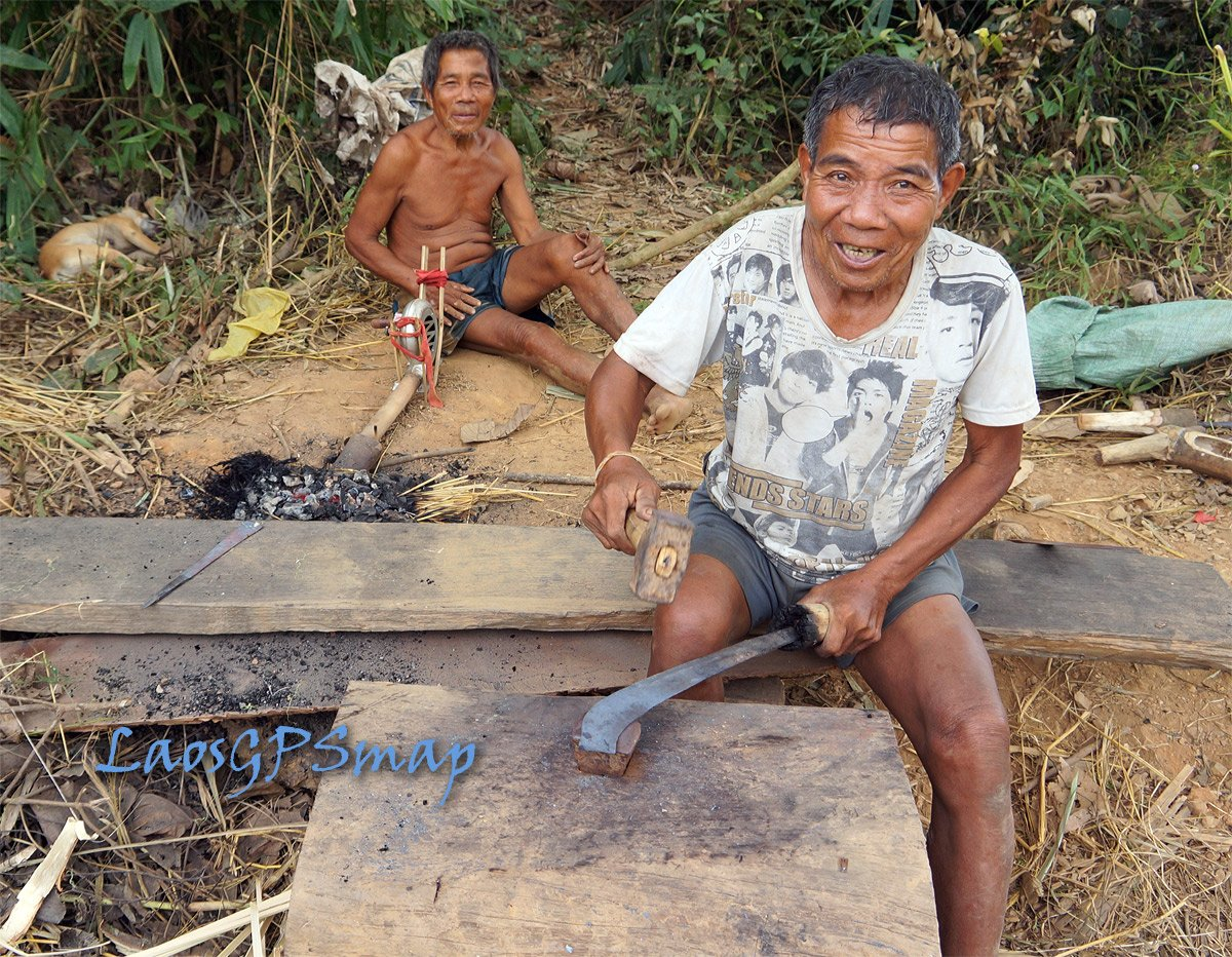 Ho Chi Minh trail making knife from scrap metal