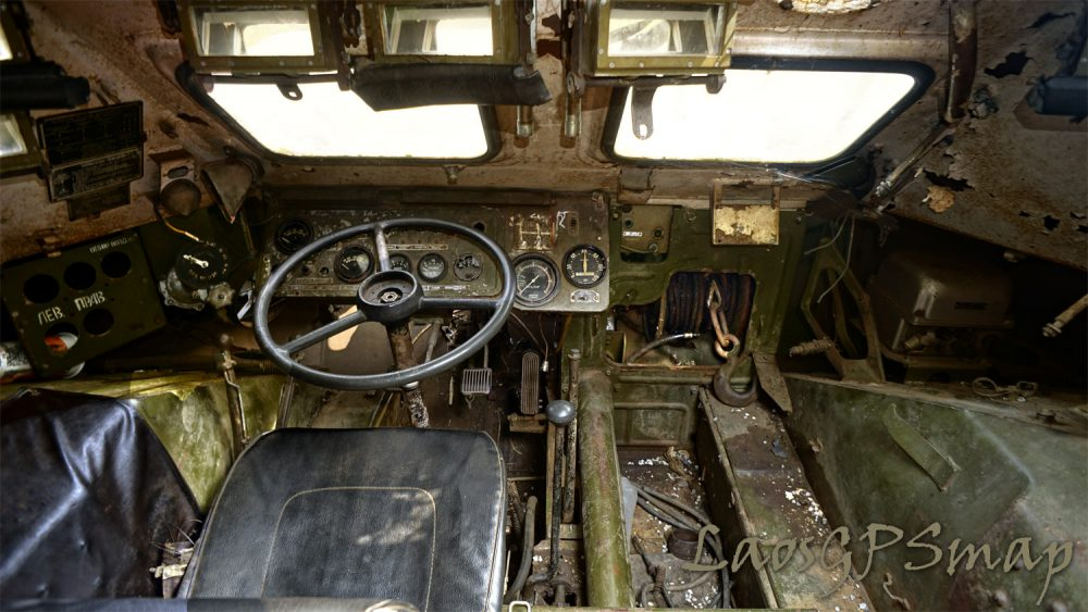 cockpit area of wheeled tank