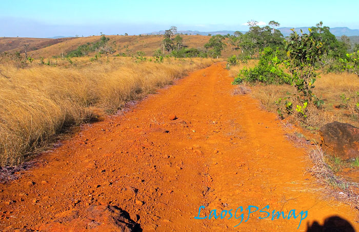 Motorcycle Laos Red Earth, MIneral Rich Soil of the Bolevens Plateau
