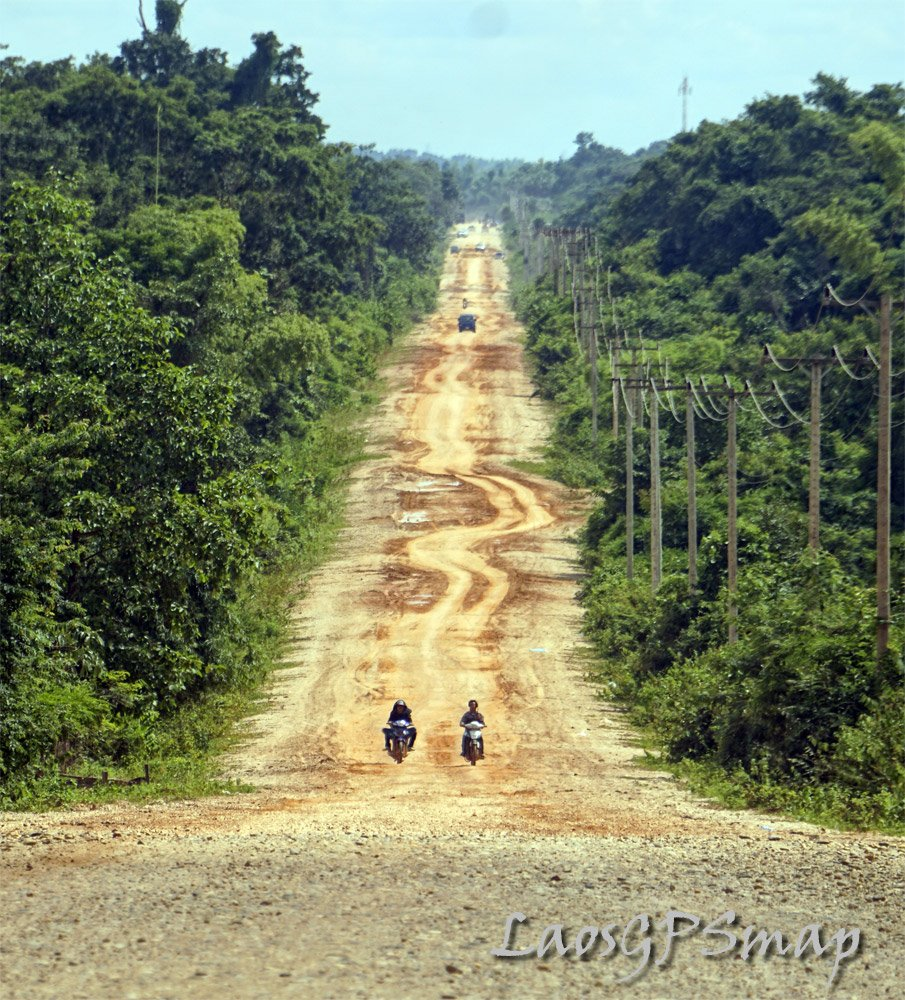 New cut road towards Mekong river Laos