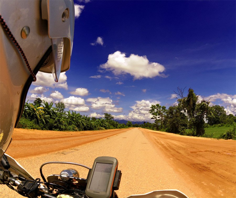 dirt road and blue skies Vientiane Province Laos