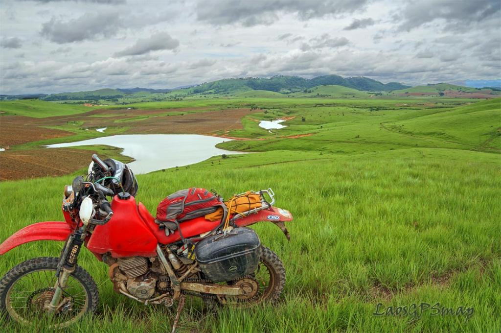 Motorcycle Laos Green Rolling Hills of the Plain Of Jars