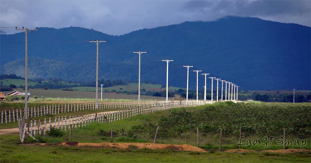 Glimmering power poles Xieng Kouang Plain of Jars Laos