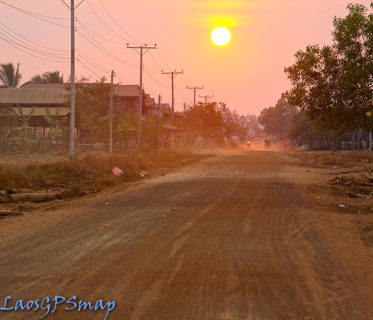 Red dust setting sun Kong District Southern Laos