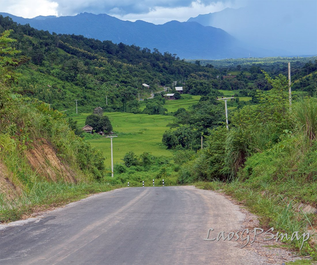 Road $ Sayabouri Province Rainy season ride