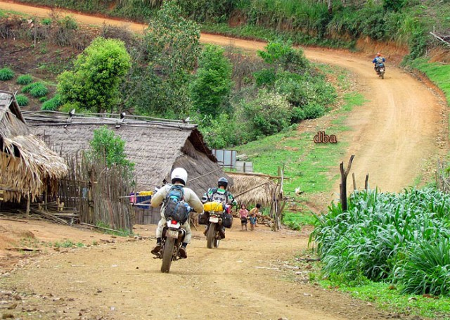 Motorcycle Laos Rural Road Phonxai  District