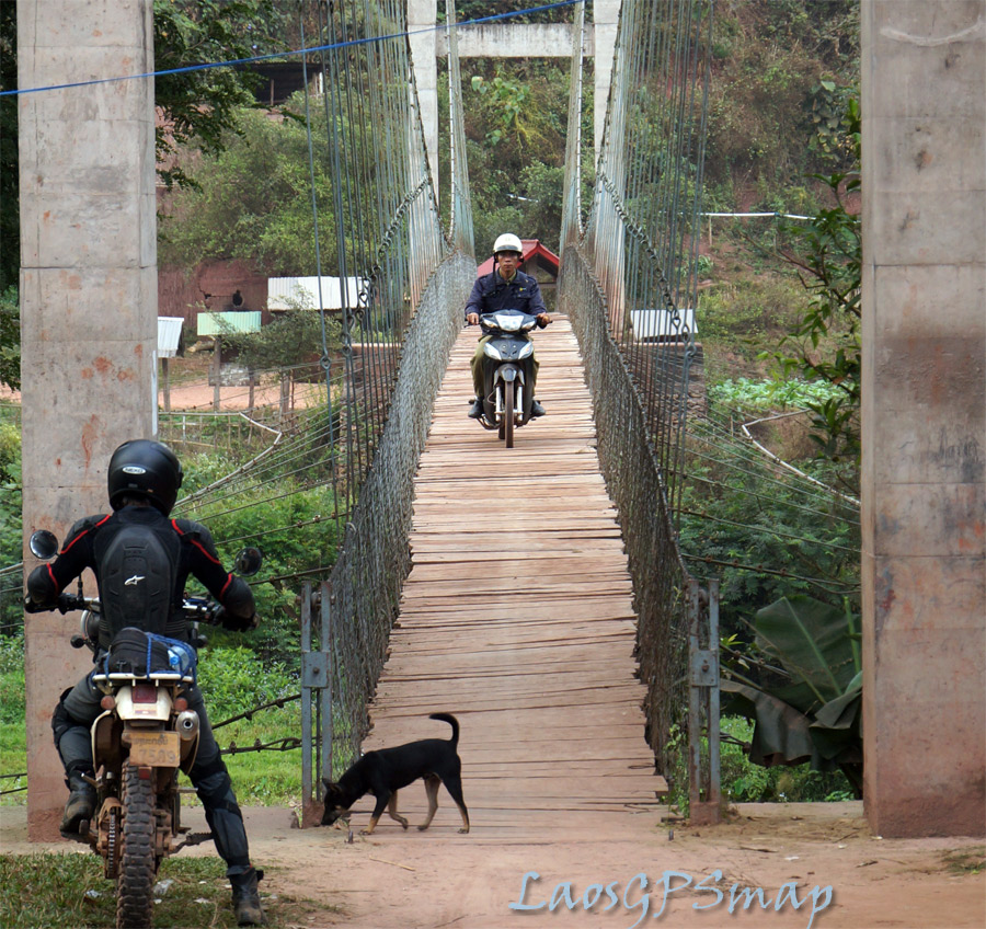 Motorcycle Laos Suspension Bridge Muang Nga