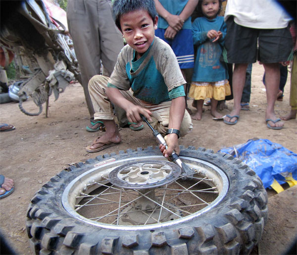 Motorcycle Tire Installation Near Me >> Flat tires laos offroad motorcycle | Laos GPS Map
