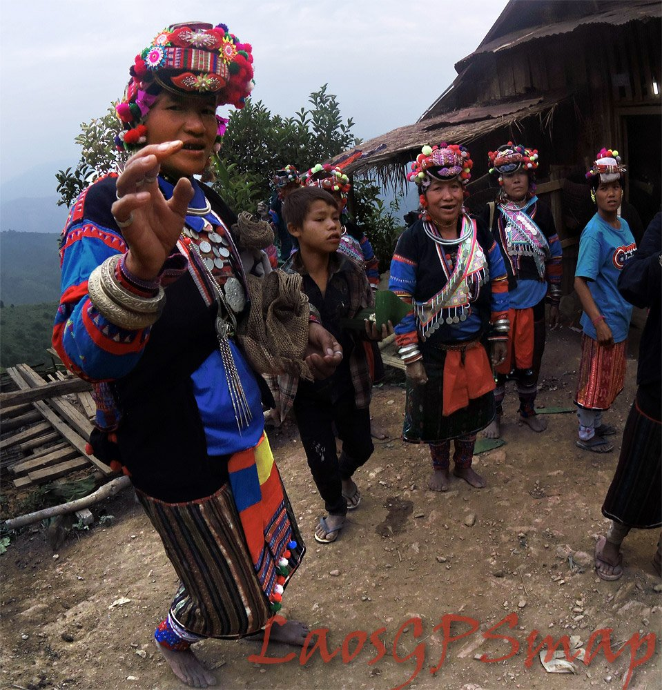 Pounoy Tribes people Phongsali Province Nothern Laos, these indigenous tribespeople are preparing for a funeral party.