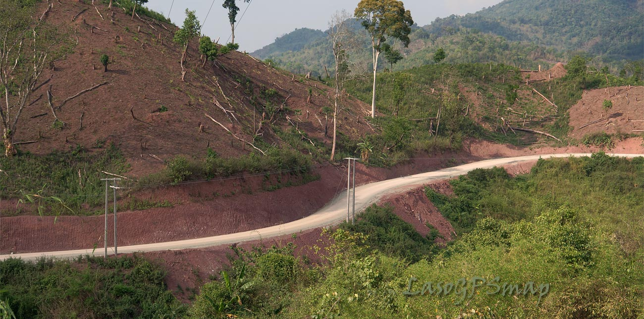 Motorcycle Laos-newly constructed Provincial Road Phou Kout District