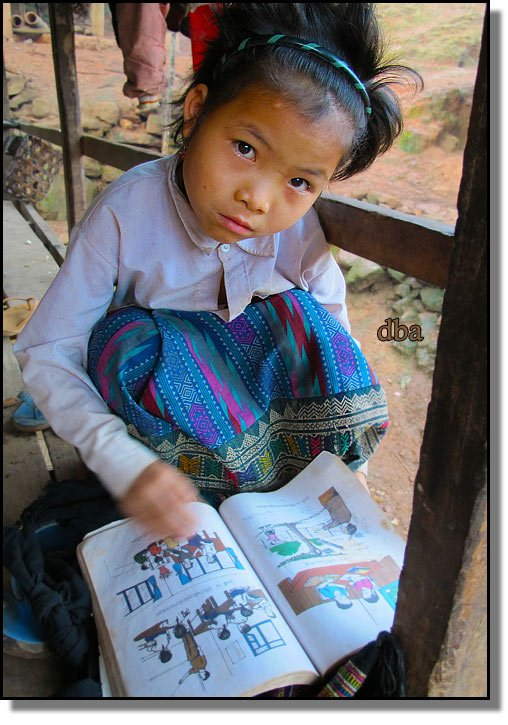 Phongsali province young student reading