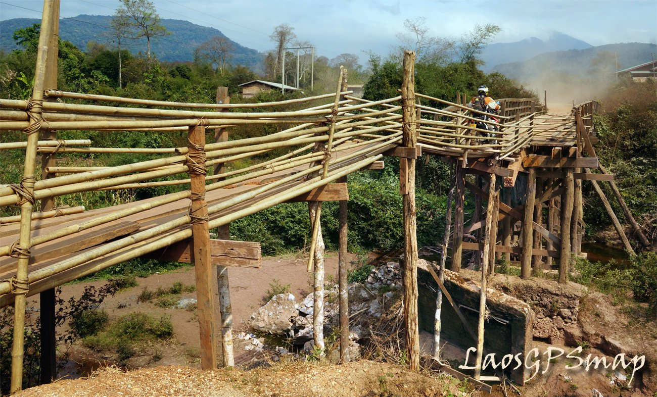 Bamboo bridge Boualapha district Southern Laos