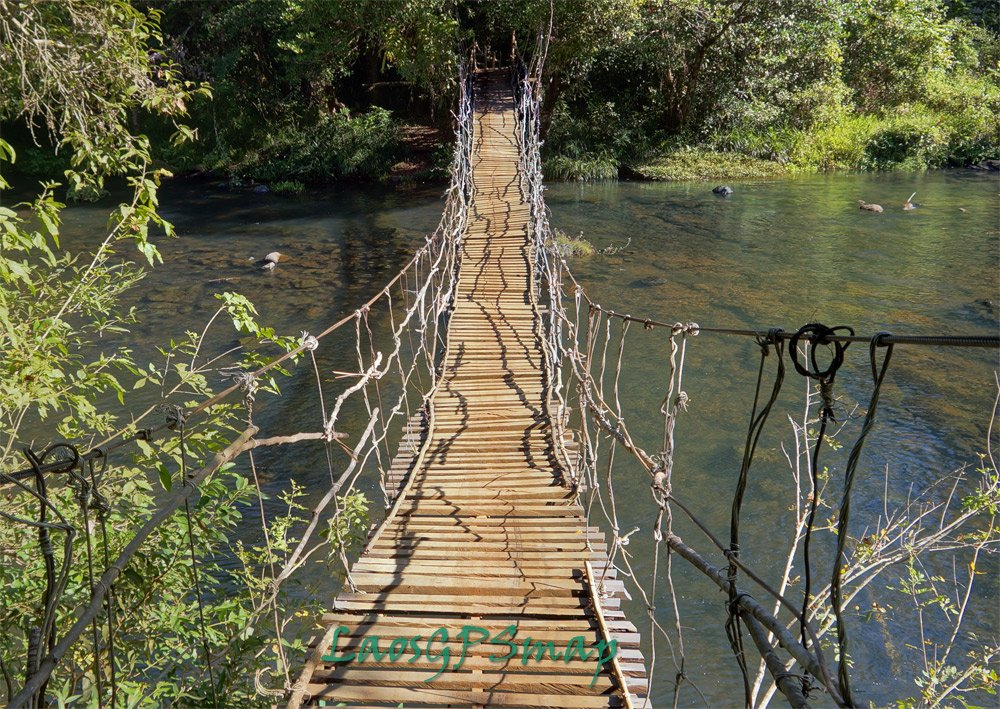 Houay Tok Lok suspension bridge Southern Laos
