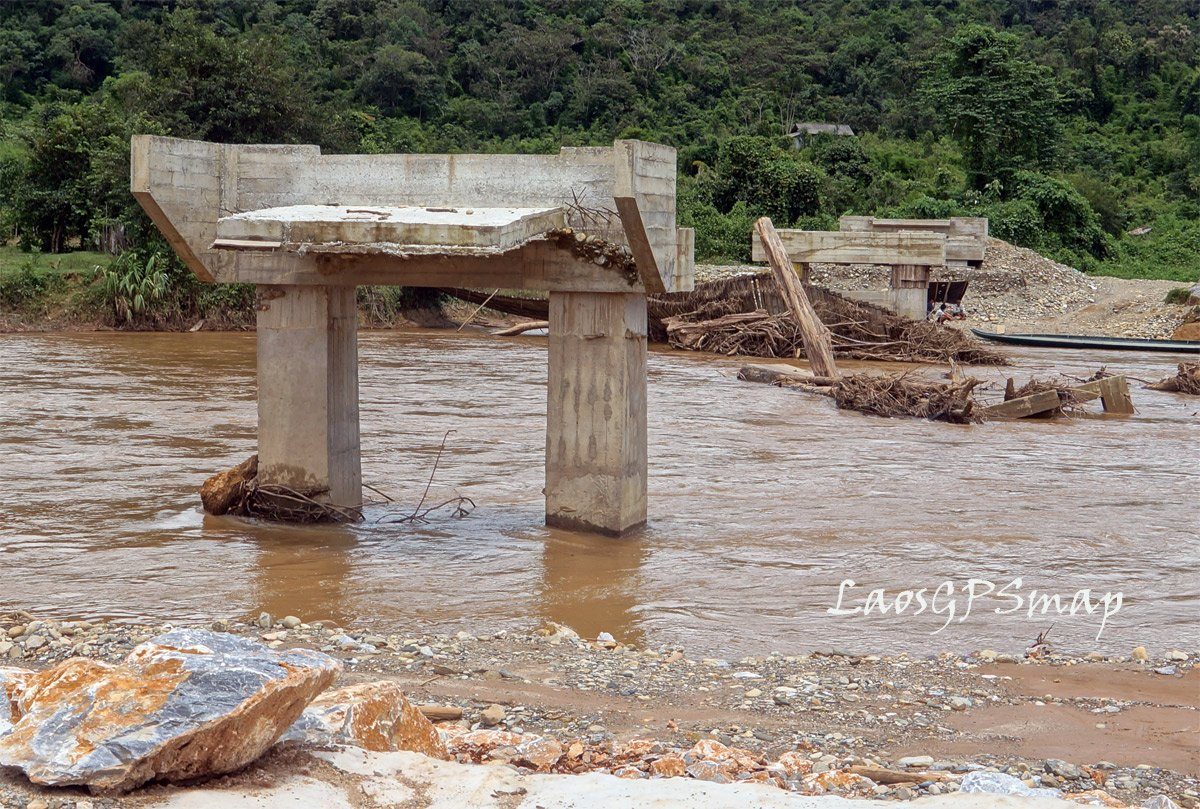 Suspension bridge and new pilings destroyed