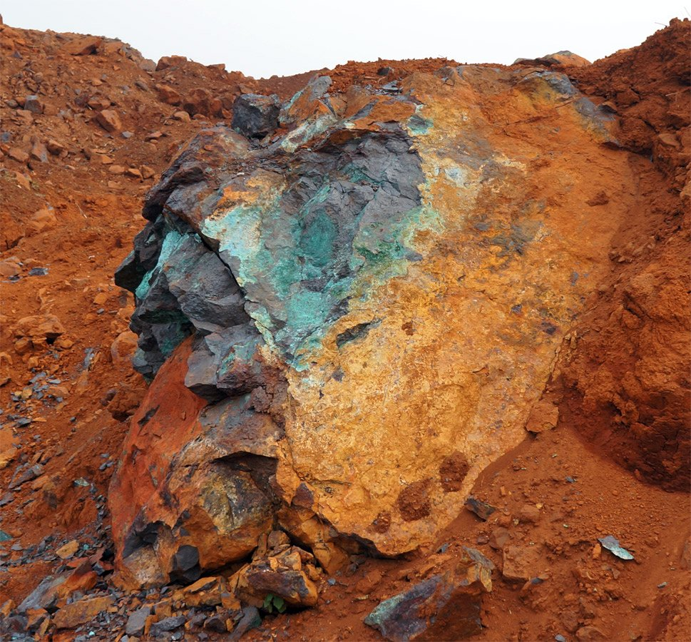 Minerals Patina copper ore, on the Karst mountains