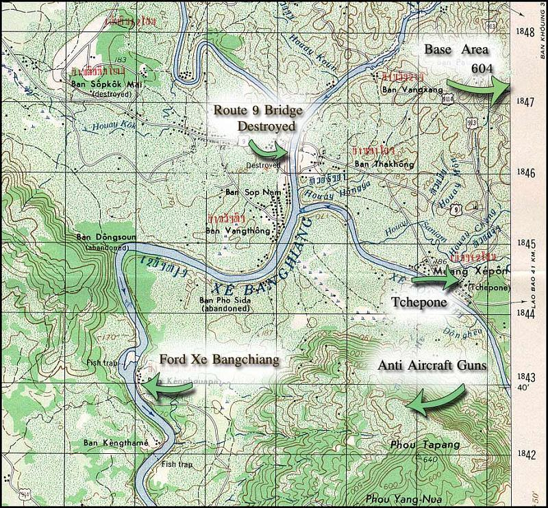 Ho Chi Minh trail map near Xepon Laos, Lamson battle area