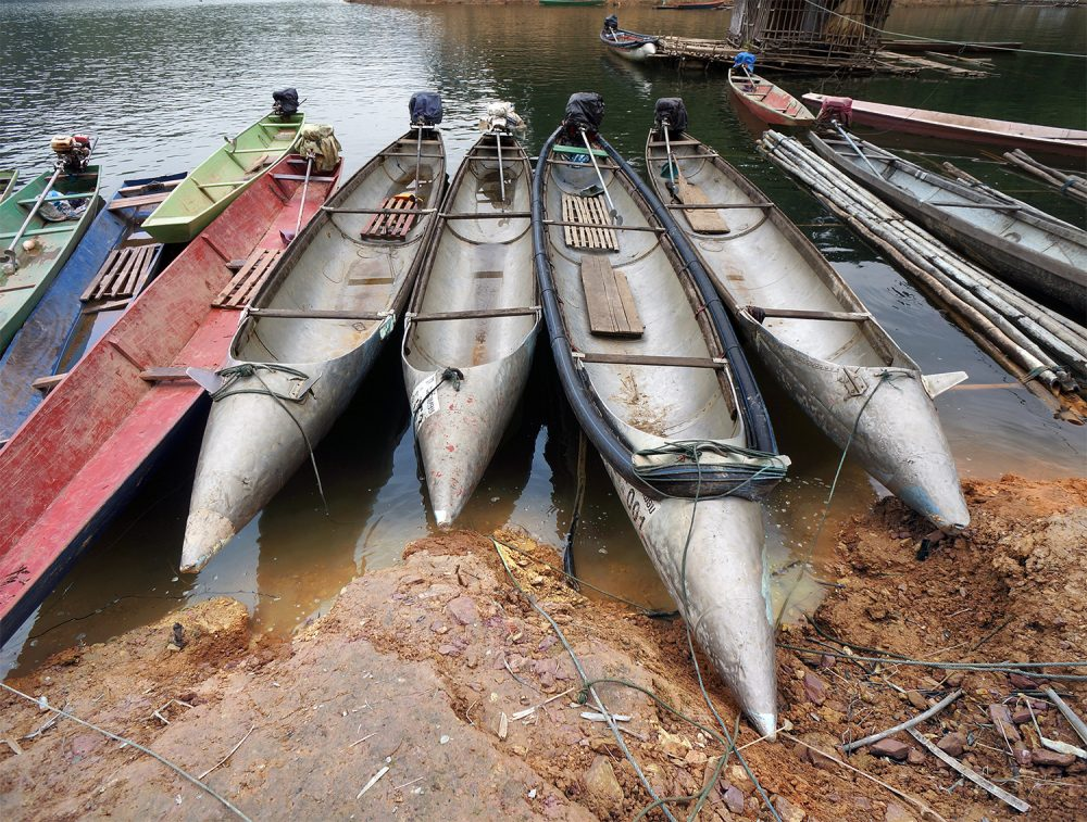 Bomb boats on the Nam Gnouang river, Ho Chi Minh trail